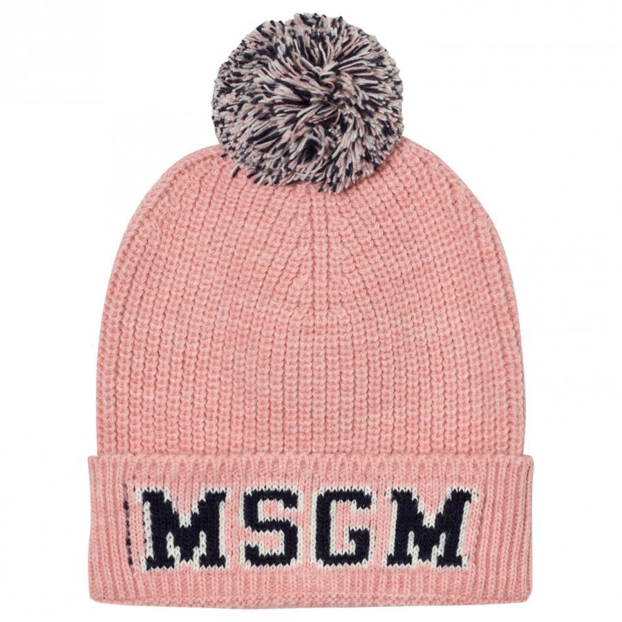 Msgm Pink And Navy Logo Beanie Pipo