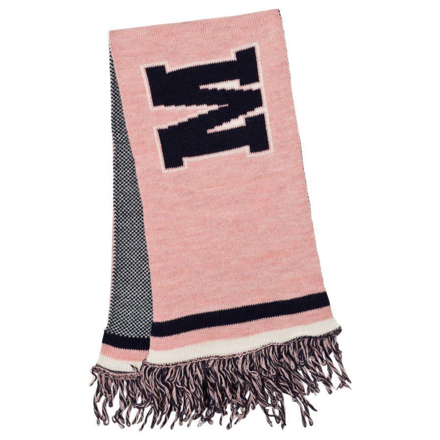 Msgm Pink And Navy Logo Scarf Villahuivi