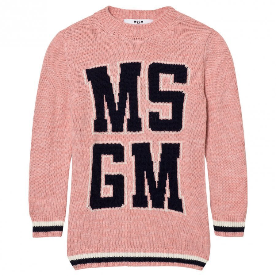 Msgm Pink Logo Knit Dress Mekko