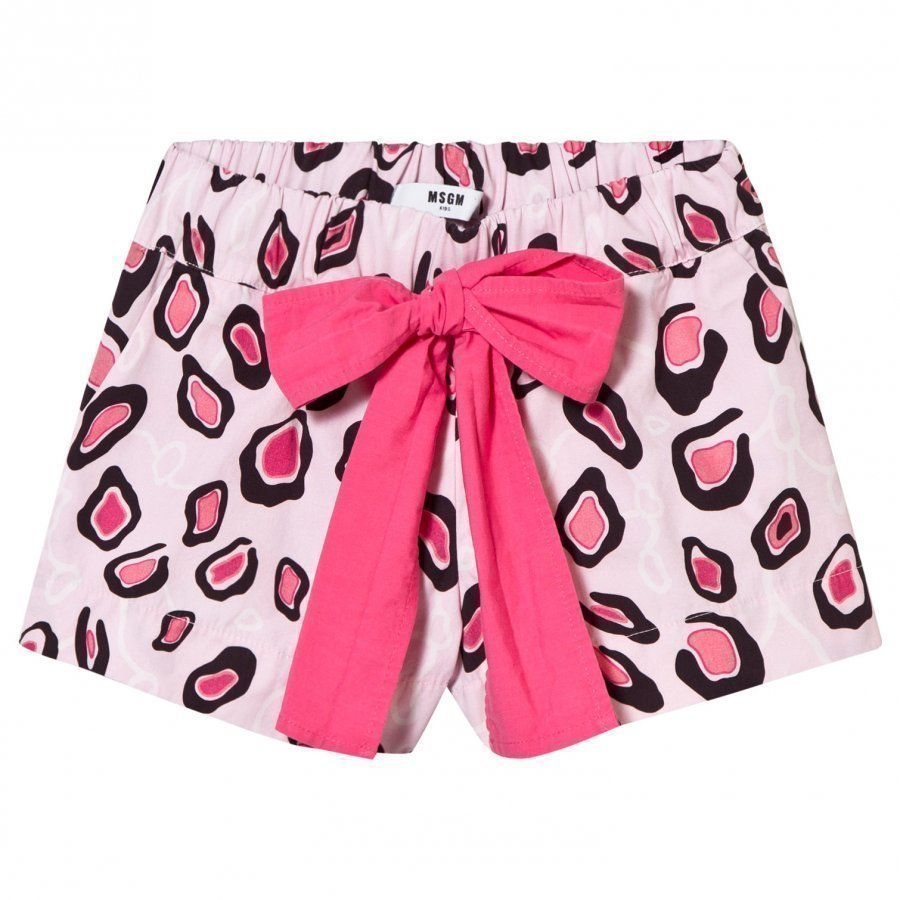 Msgm Pink Printed Shorts With Bow Tie Shortsit