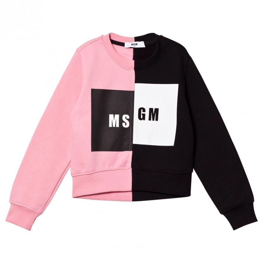 Msgm Pink/Black Logo Sweatshirt Oloasun Paita