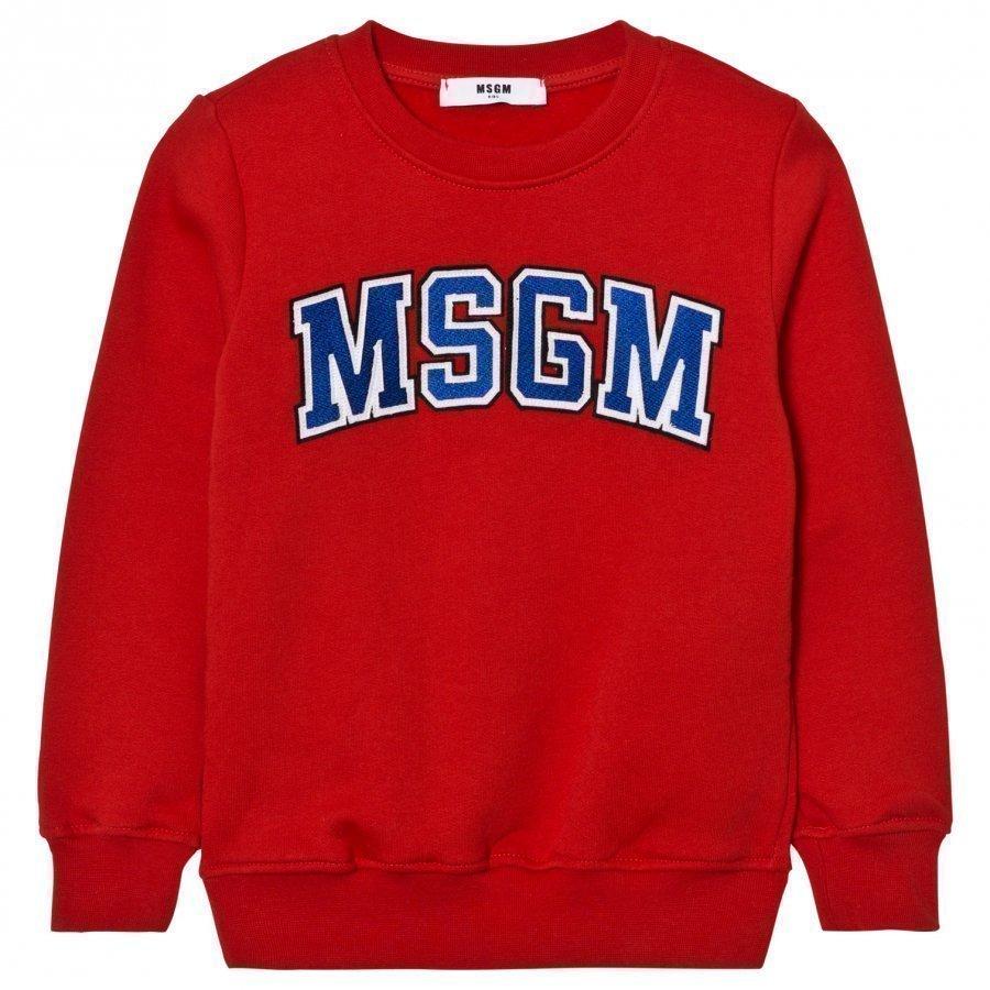 Msgm Red Branded Varsity Sweatshirt Oloasun Paita