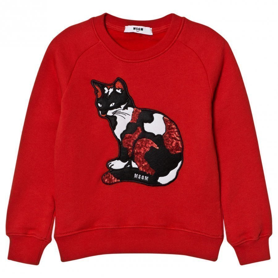 Msgm Red Sequin Cat Sweatshirt Oloasun Paita