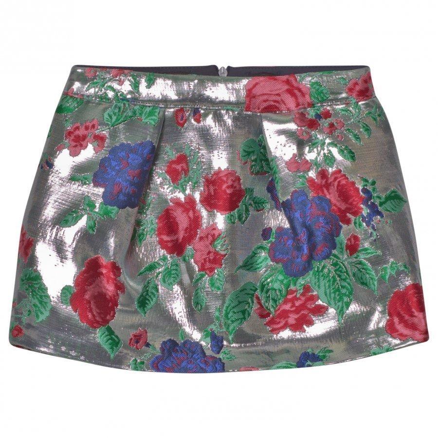 Msgm Silver Floral Metallic Skirt Kellohame