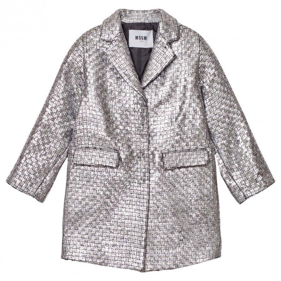 Msgm Silver Woven Coat Talvitakki