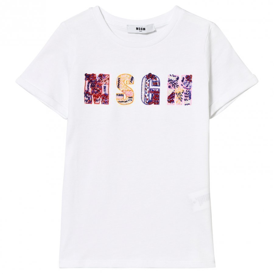 Msgm White Beaded And Embroidered Logo Tee T-Paita