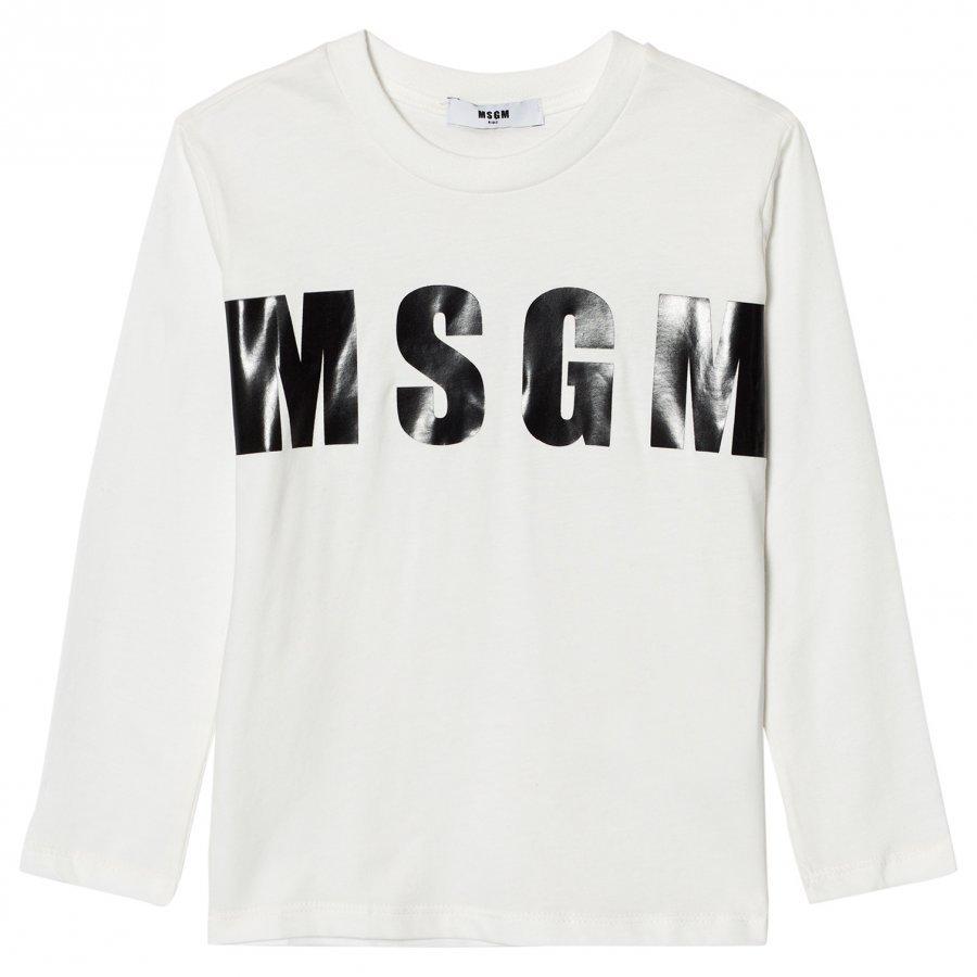 Msgm White Branded Tee T-Paita