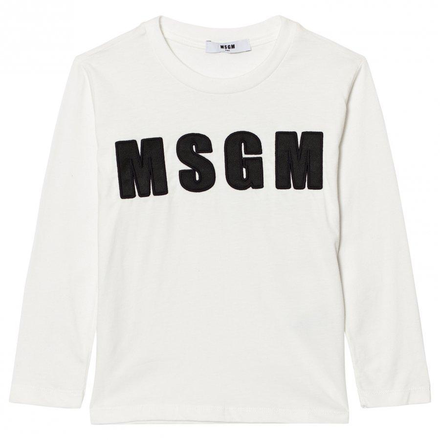 Msgm White Logo Long Sleeve Tee T-Paita