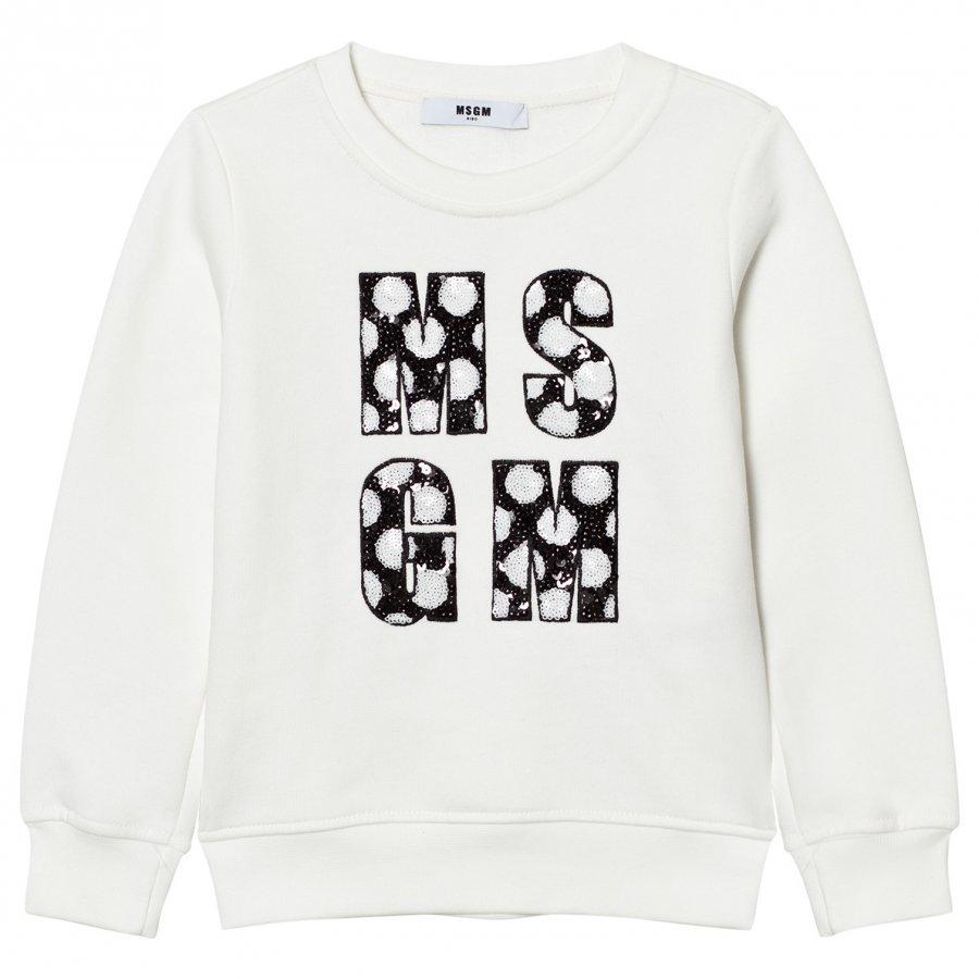 Msgm White Sequin Logo Sweatshirt Oloasun Paita