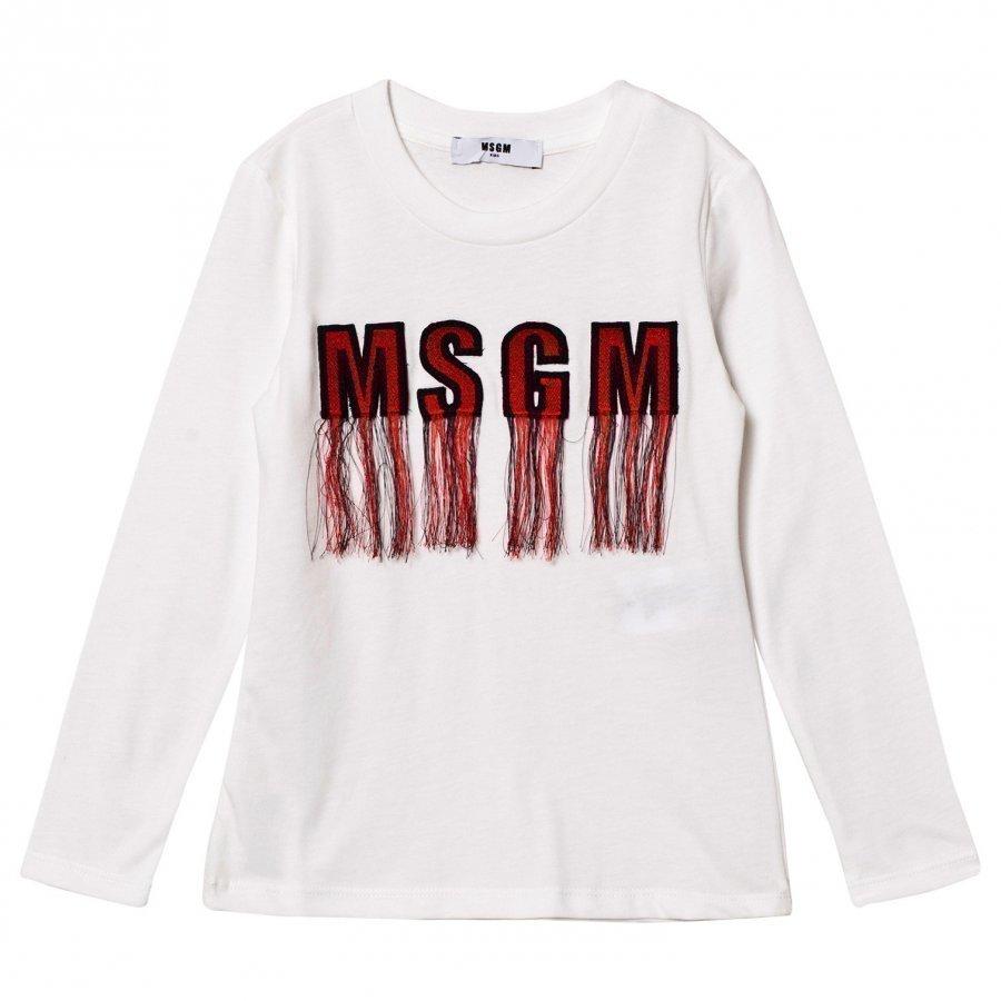 Msgm White Tassled Logo Long Sleeve Tee T-Paita
