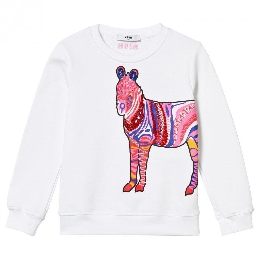 Msgm White Zebra Beaded Sweatshirt Oloasun Paita