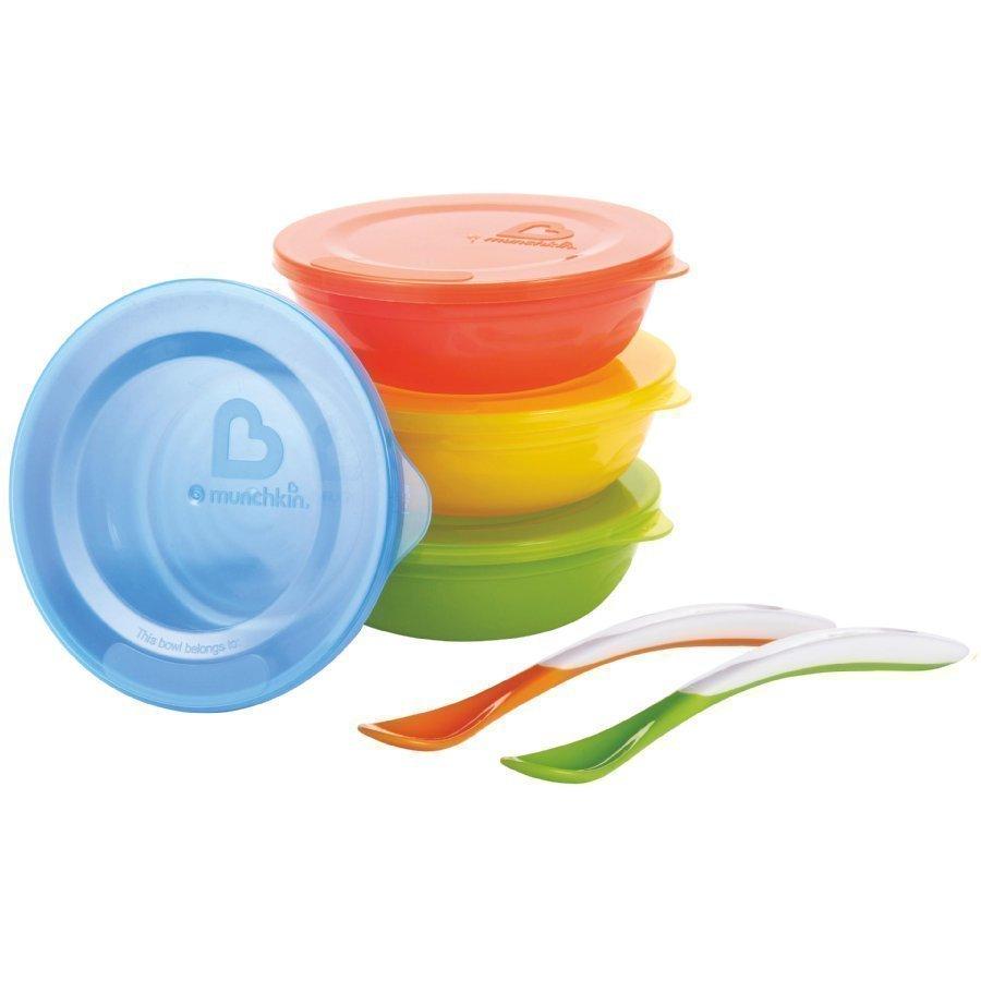Munchkin Love A Bowls Kulhot 4 Kpl Pakkaus Ja 2 Kpl Lusikkaa Värikäs