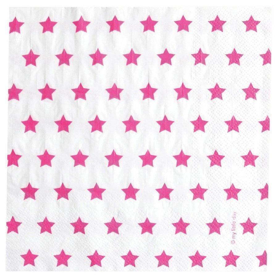 My Little Day 20 Paper Napkins Bright Pink Stars Juhlatarvike