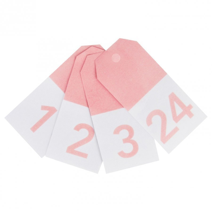 My Little Day 24 Gift Tags Light Pink Numbers Juhlatarvike