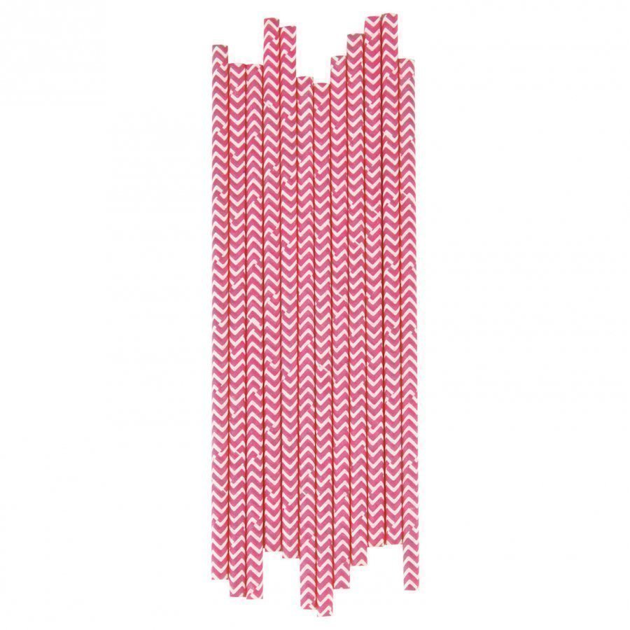 My Little Day 25 Paper Straws Bright Pink Chevrons Juhlatarvike