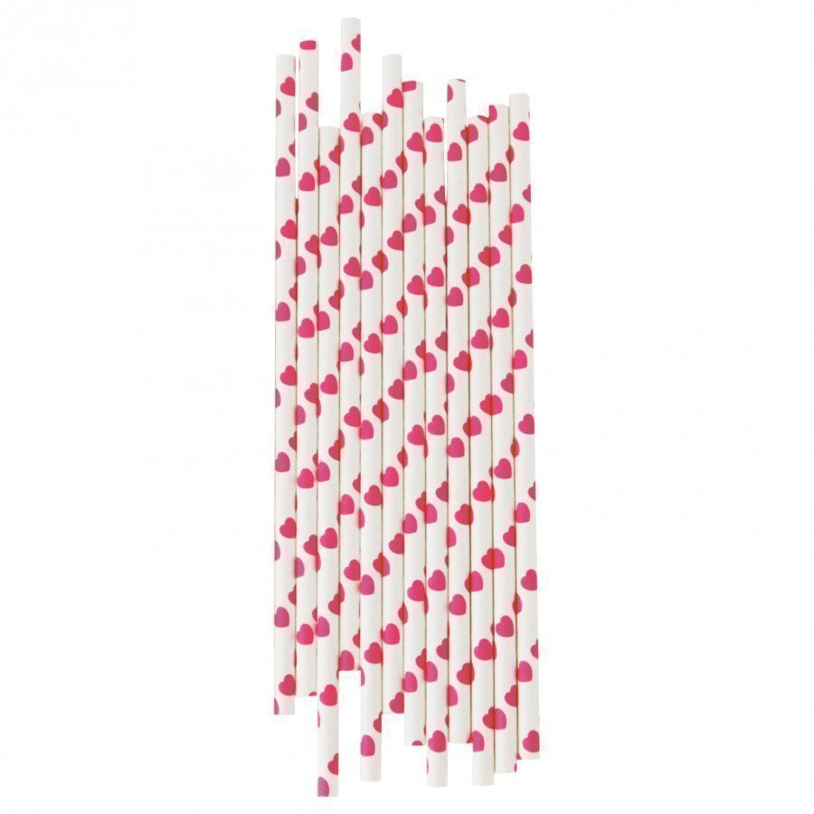 My Little Day 25 Paper Straws Bright Pink Hearts Juhlatarvike