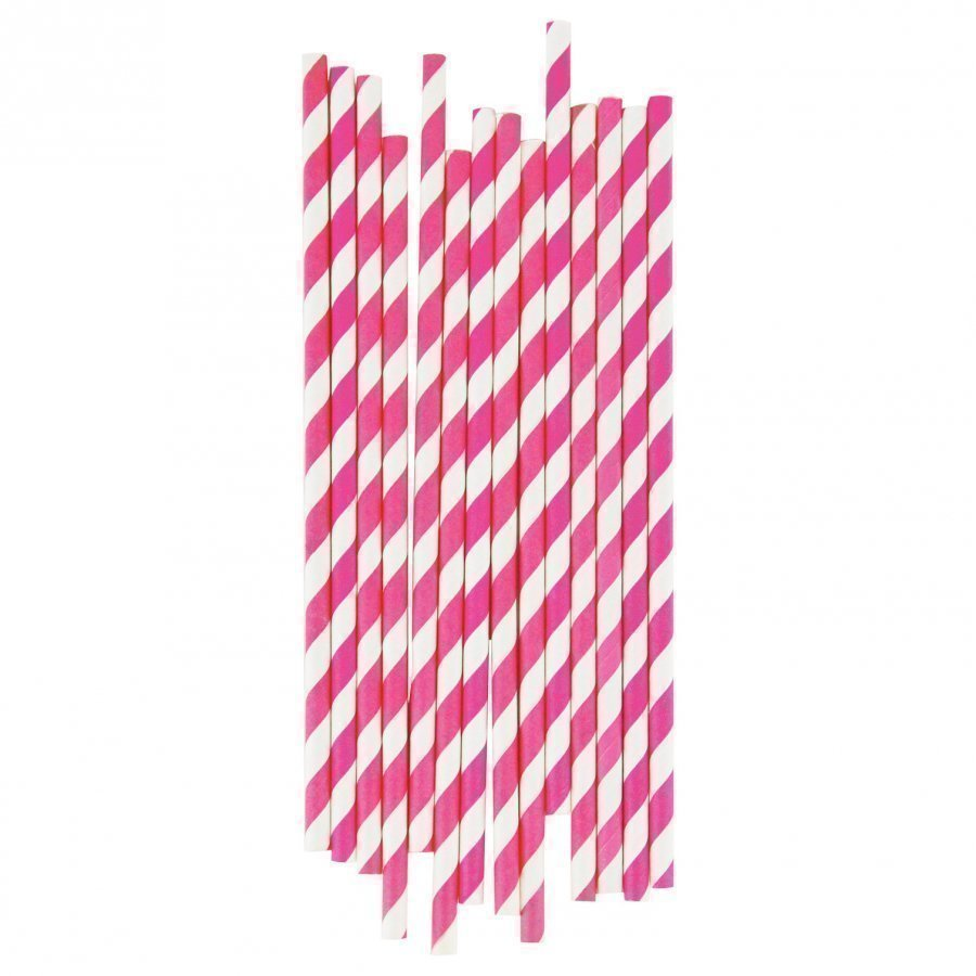 My Little Day 25 Paper Straws Bright Pink Stripes Juhlatarvike
