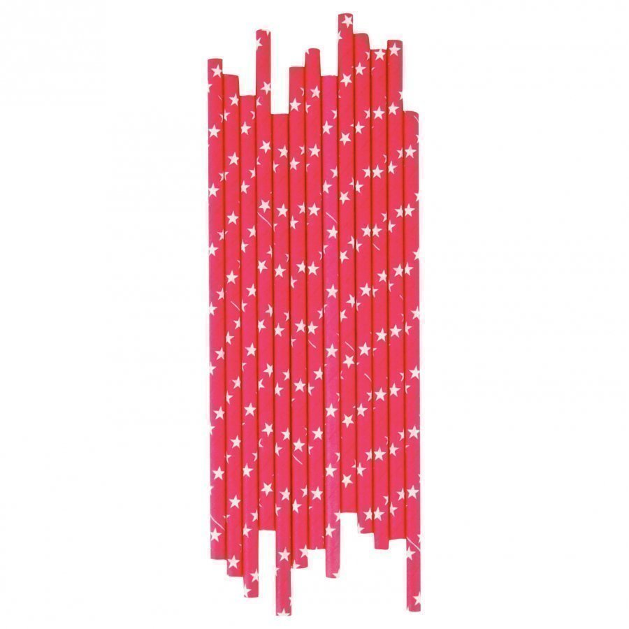 My Little Day 25 Paper Straws Bright Pink/White Stars Juhlatarvike