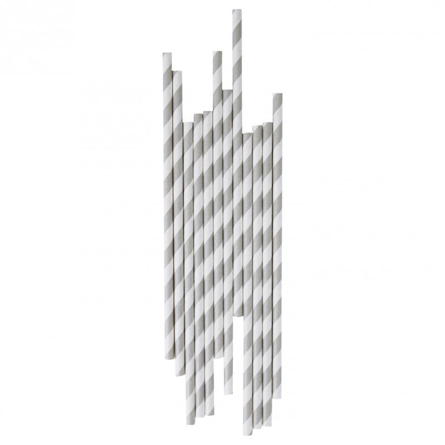 My Little Day 25 Paper Straws Grey Stripes Juhlatarvike