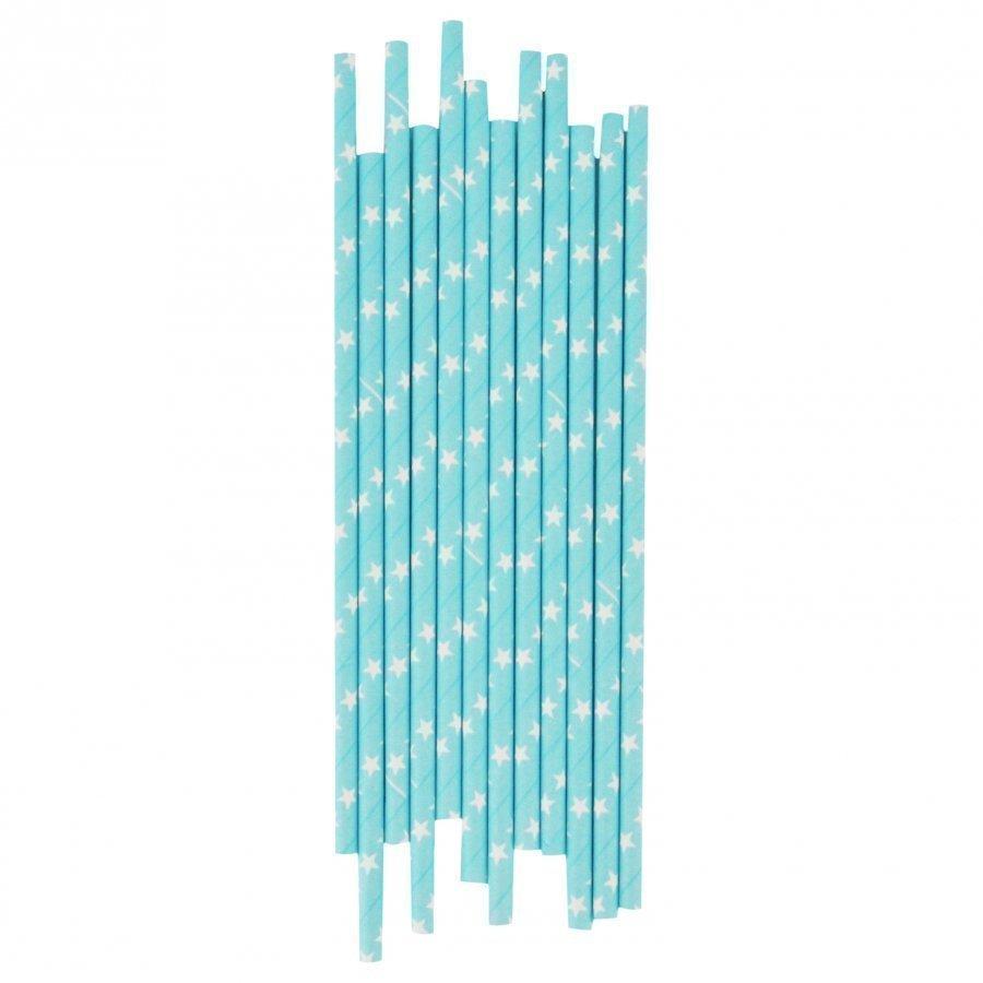 My Little Day 25 Paper Straws Light Blue/White Stars Juhlatarvike
