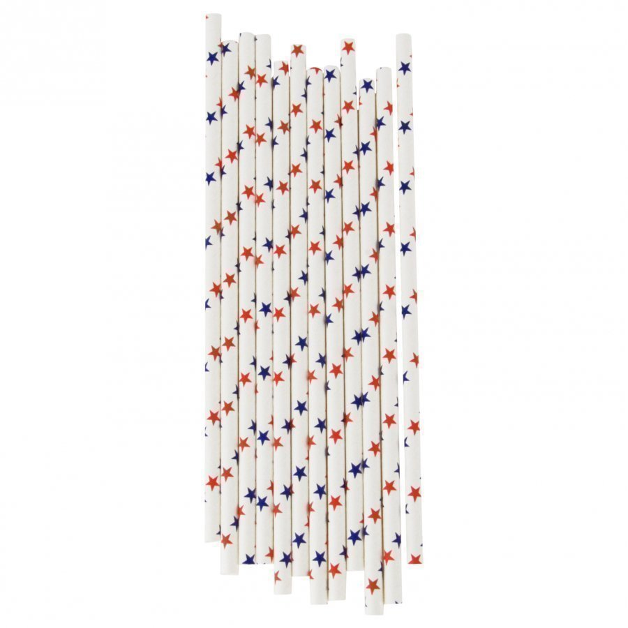 My Little Day 25 Paper Straws Red & Blue Stars Juhlatarvike