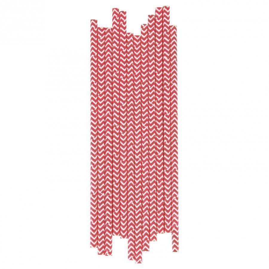 My Little Day 25 Paper Straws Red Chevrons Juhlatarvike