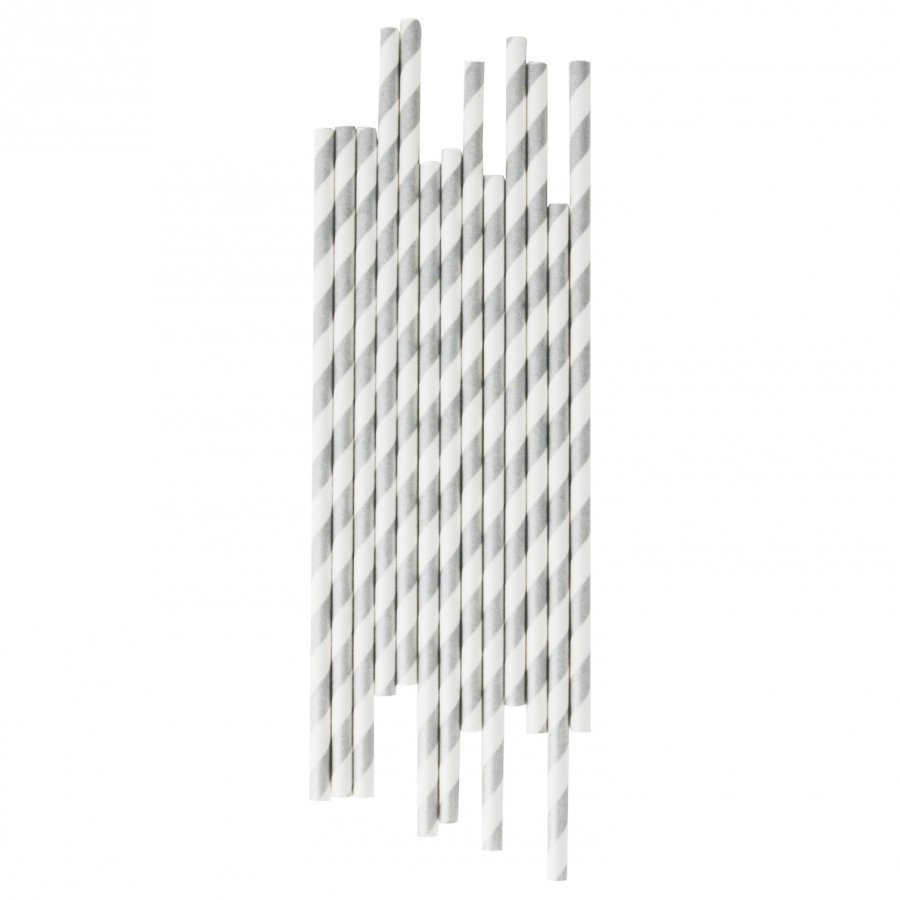 My Little Day 25 Paper Straws Silver Stripes Juhlatarvike