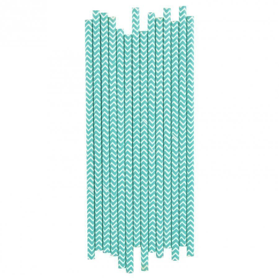 My Little Day 25 Paper Straws Turquoise Chevrons Juhlatarvike