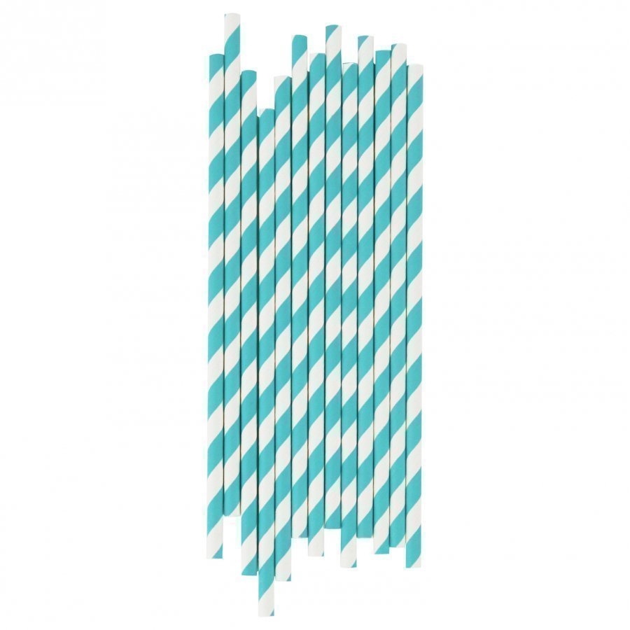 My Little Day 25 Paper Straws Turquoise Stripes Juhlatarvike