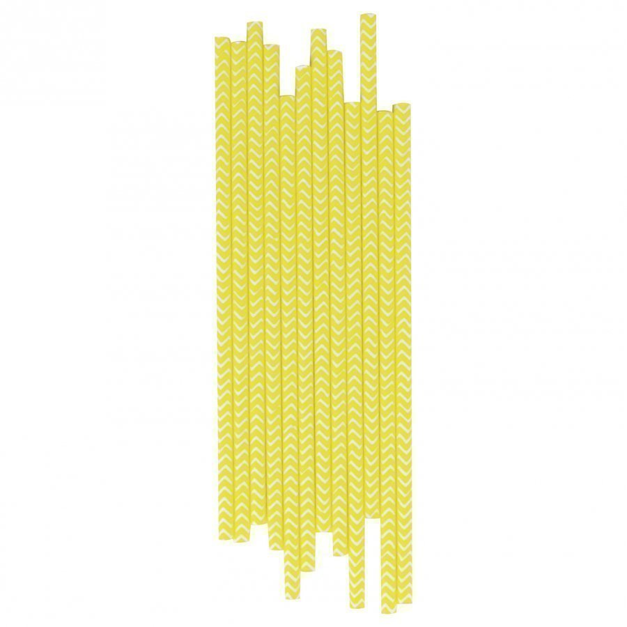 My Little Day 25 Paper Straws Yellow Chevrons Juhlatarvike