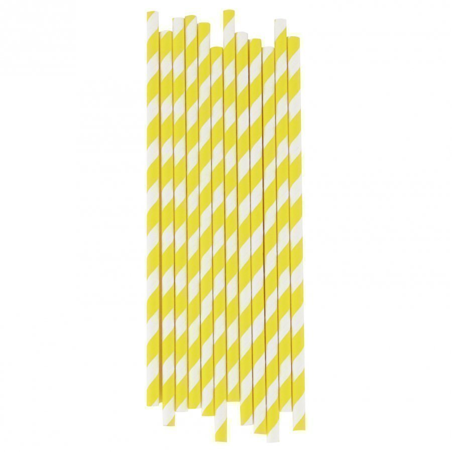 My Little Day 25 Paper Straws Yellow Stripes Juhlatarvike