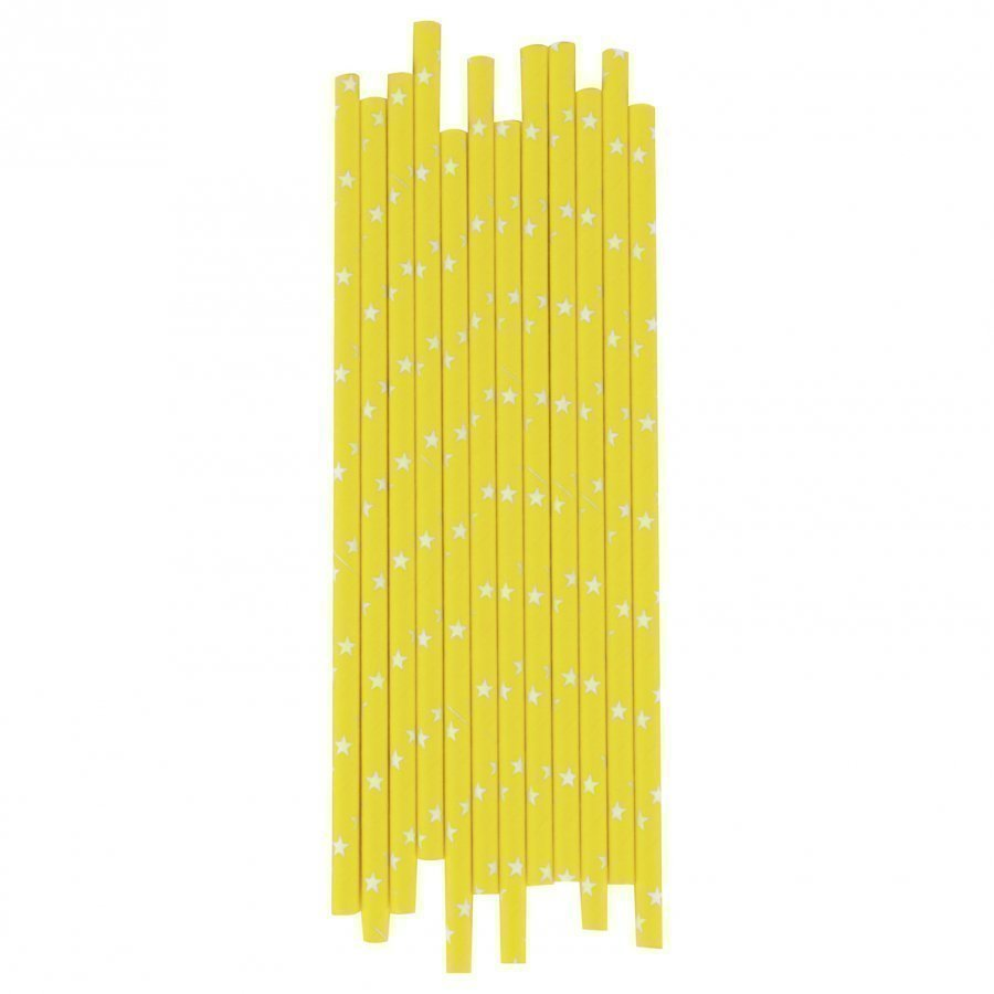 My Little Day 25 Paper Straws Yellow/White Stars Juhlatarvike