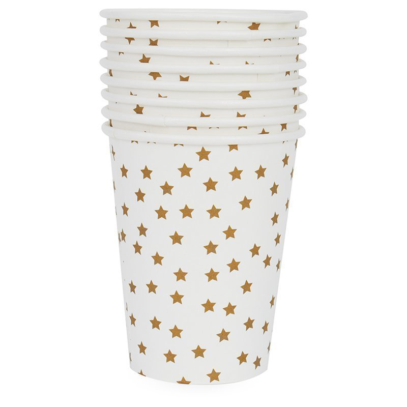 My Little Day 8 Paper Cups Golden Stars Juhlatarvike