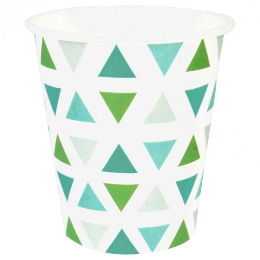 My Little Day 8 Paper Cups Green Triangles Juhlatarvike