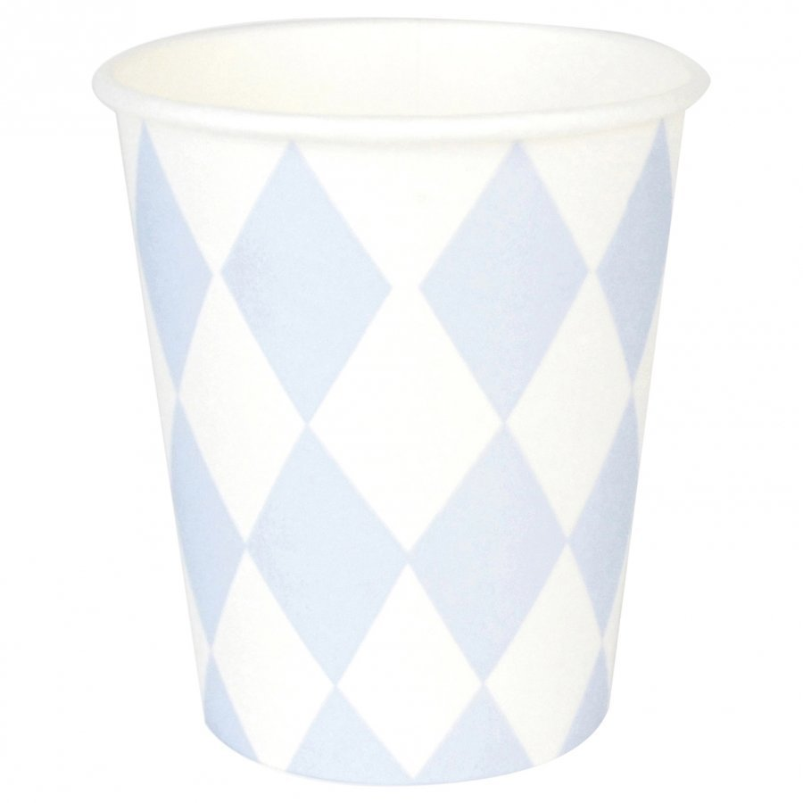 My Little Day 8 Paper Cups Light Blue Diamonds Juhlatarvike