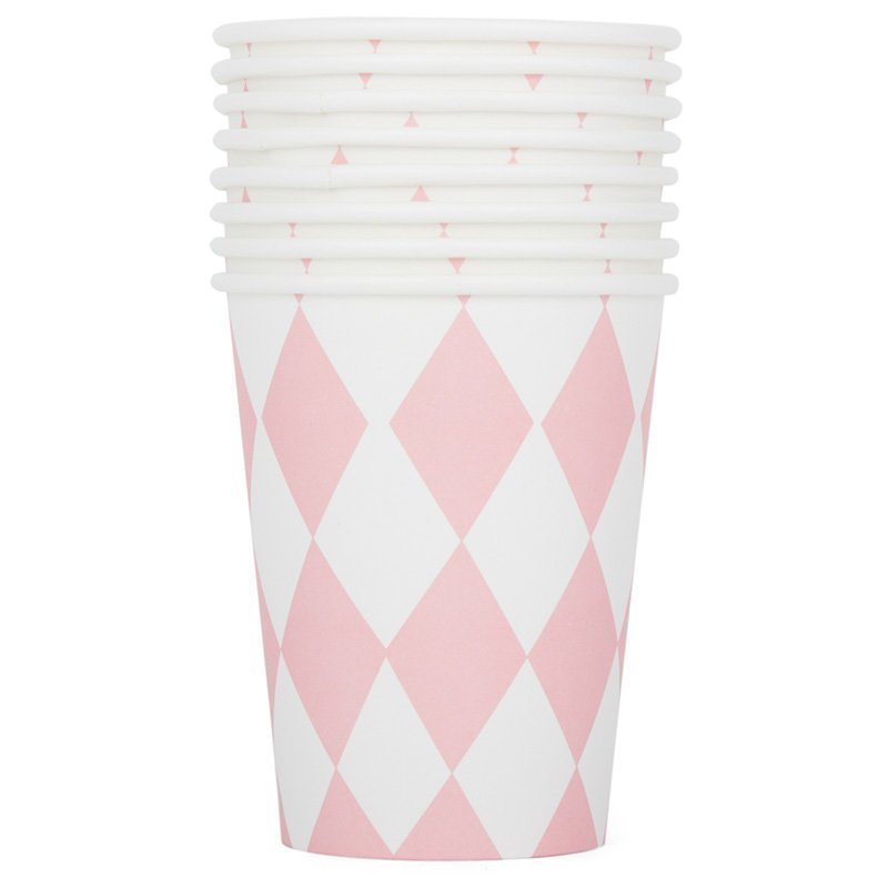 My Little Day 8 Paper Cups Light Pink Diamonds Juhlatarvike