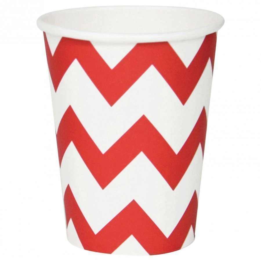 My Little Day 8 Paper Cups Red Chevrons Juhlatarvike