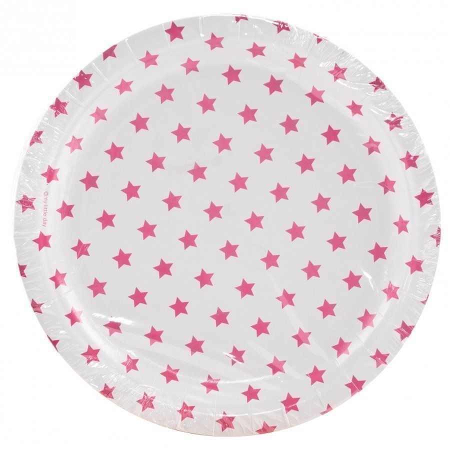 My Little Day 8 Paper Plates Bright Pink Stars Juhlatarvike