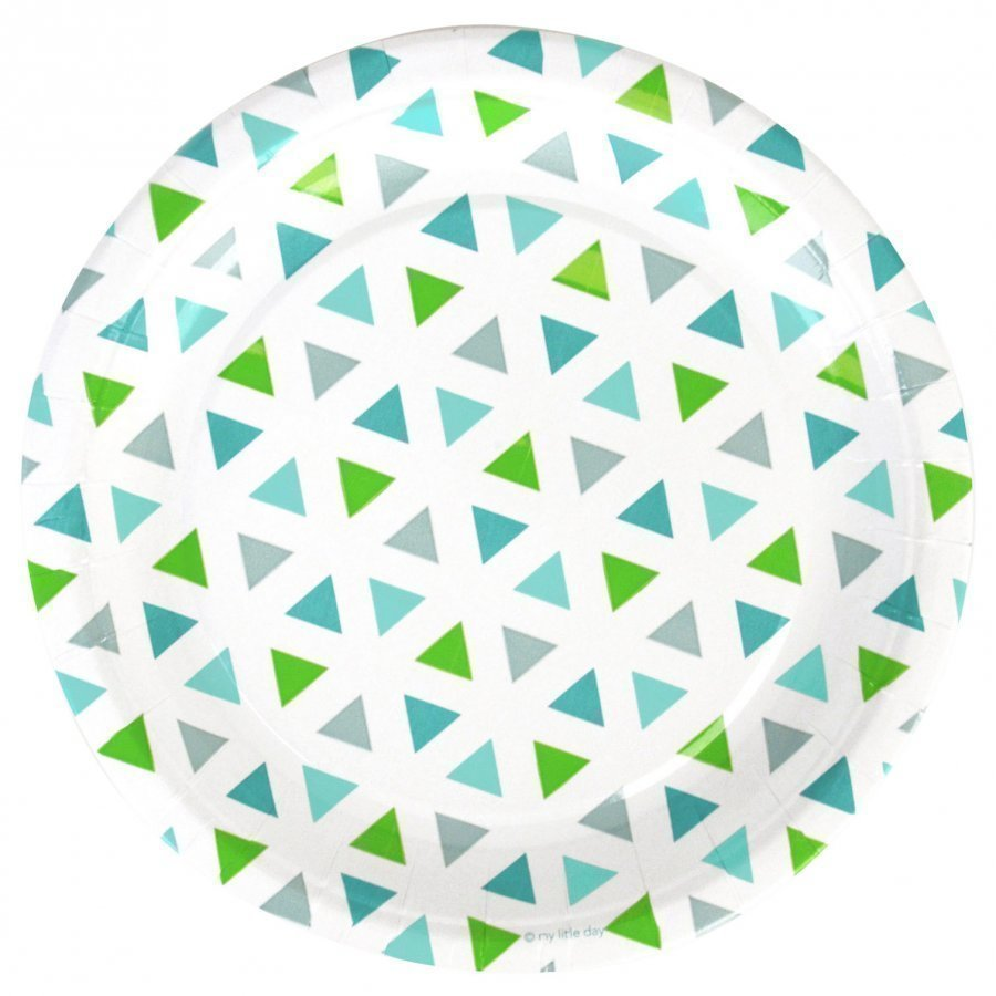 My Little Day 8 Paper Plates Green Triangles Juhlatarvike