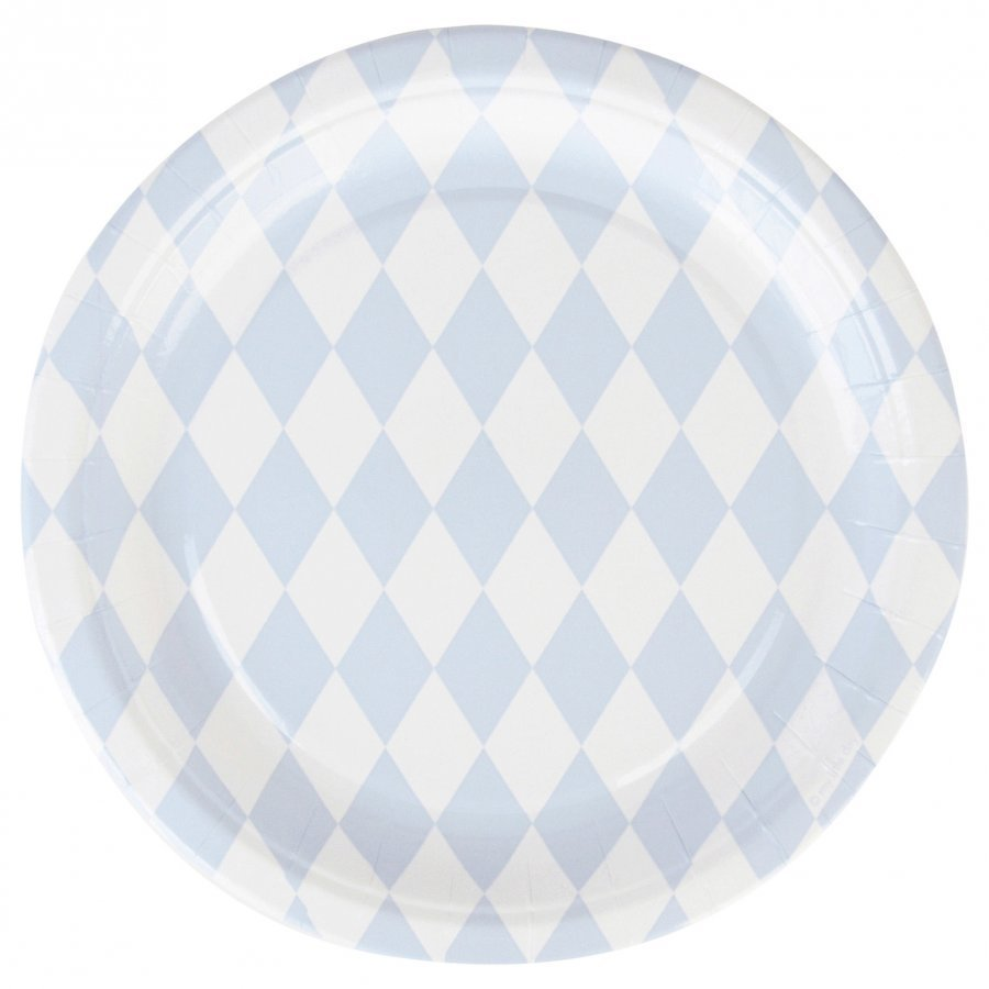 My Little Day 8 Paper Plates Light Blue Diamonds Juhlatarvike