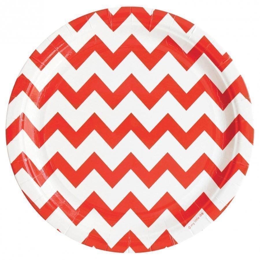 My Little Day 8 Paper Plates Red Chevrons Juhlatarvike