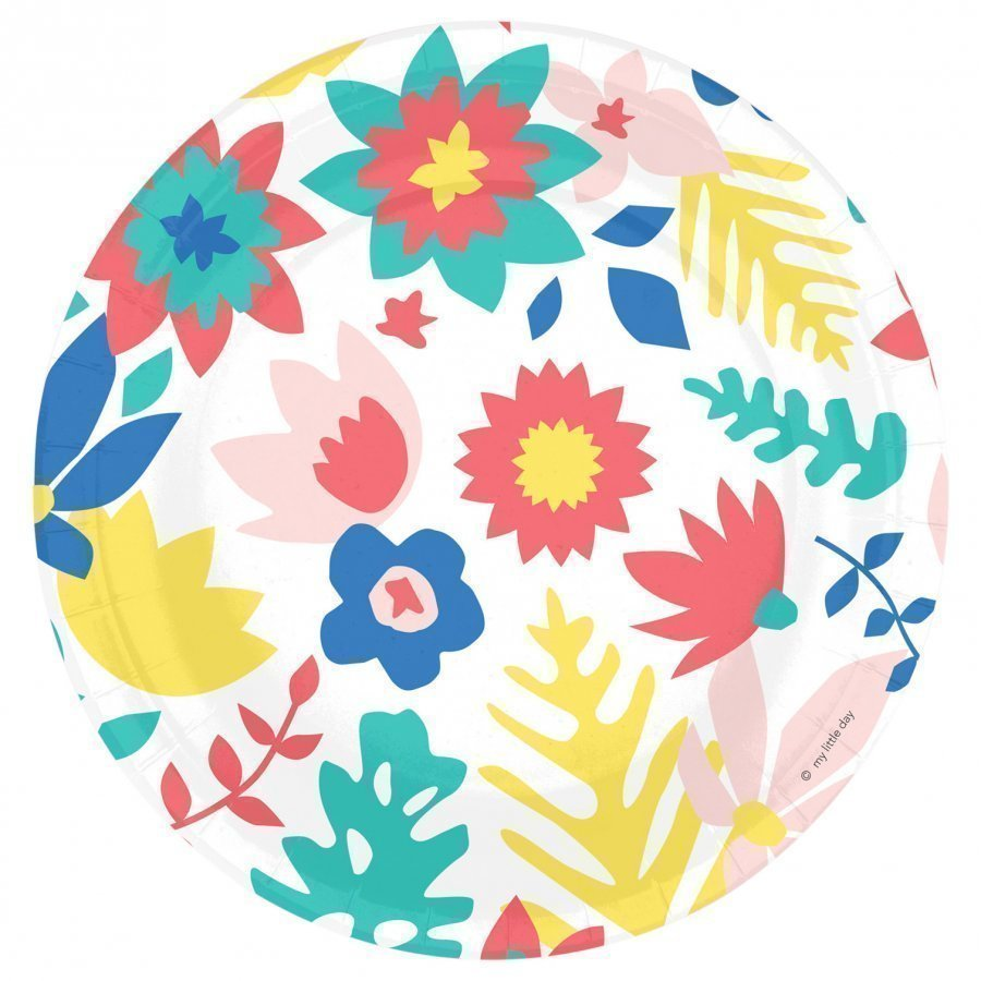 My Little Day 8 Paper Plates Tropical Flowers Juhlatarvike