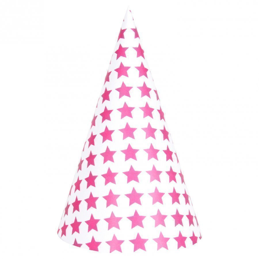 My Little Day 8 Party Hats Bright Pink Stars Juhlatarvike