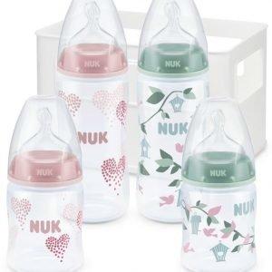 NUK Aloituspakkaus Tuttipullot ja pullotutit First Choice+ 4 kpl Vaaleanpunainen/Vihreä