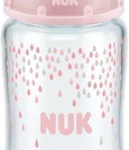 NUK Tuttipullo First Choice+ Antikoliikki Lasia 240 ml Vaaleanpunainen