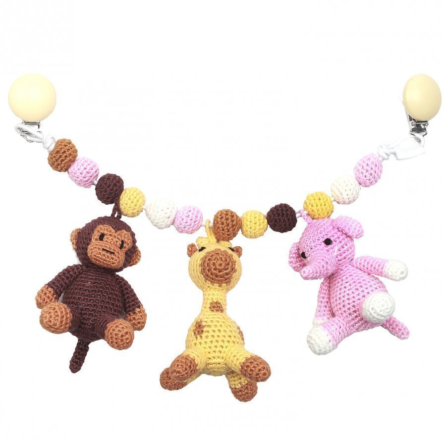 Naturezoo Monkey Giraffe And Elephant Large Trolley Mobile Light Pink Mobile