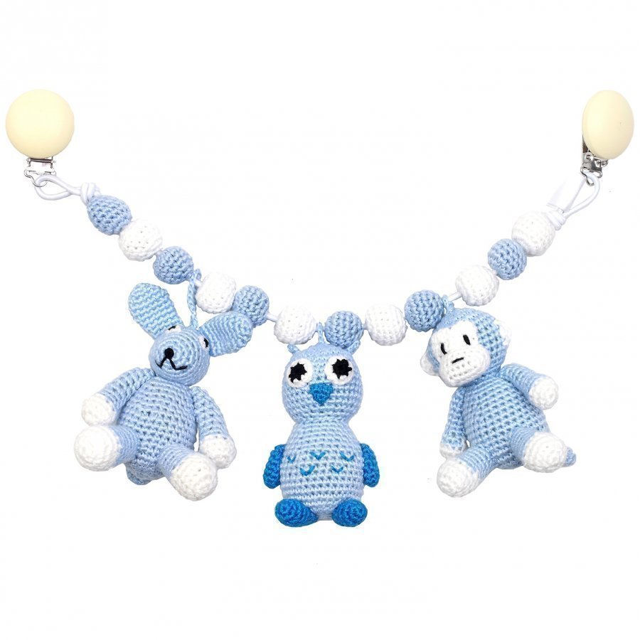 Naturezoo Monkey Owl And Rabbit Large Trolley Mobile Light Blue Mobile
