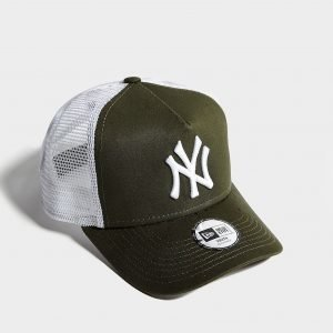 New Era Mlb New York Yankees Trucker Cap Lippis Olive / White