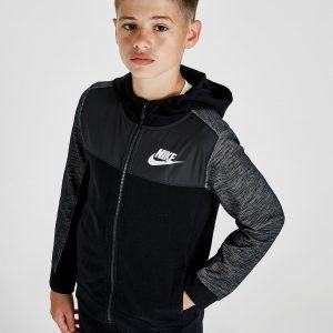 Nike Advance Woven Overlay Full Zip Hoodie Musta