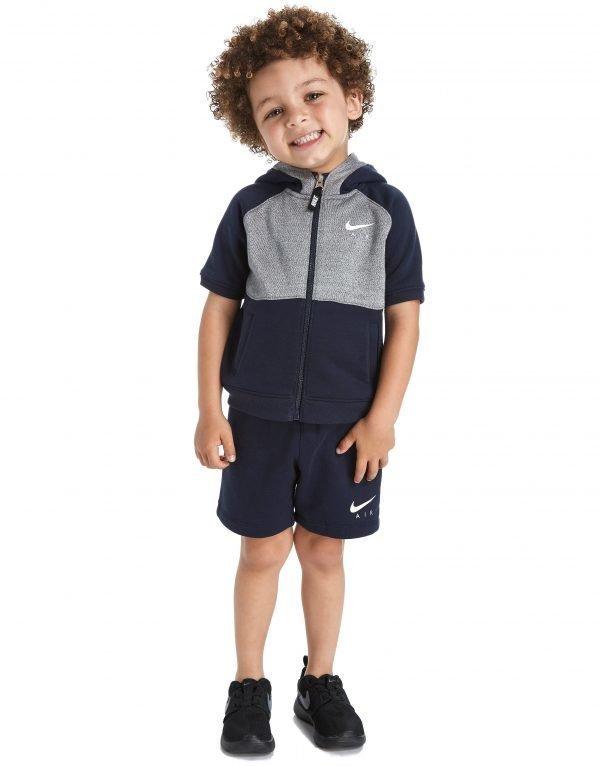 Nike Air Short Sleeve Hoodie Suit Infant Obsidian / Grey